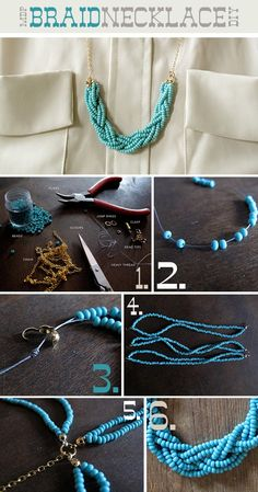 DIY Teal Statement Necklace.    http://www.ecabonline.com/2010/04/braided-bead-necklace.html