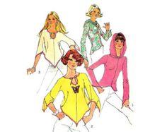70s Easy Boho Tops Pattern Jiffy Hanky Hem Pointed Sleeves Hooded Top Easy Pullover Tops Simplicity 6656 Bust 31 Vintage Sewing Pattern