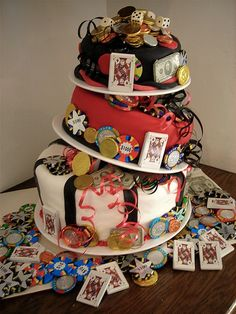 LAURENS TIPPING CAKE I LOADED IT WITH GAMBLING THEME CANDY SINCE THE WAS VEGAS WE HAD A GREAT TIME THANKS TO LOLO FAMILY FOR PARTY