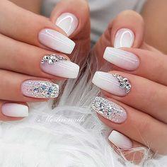 Pink Glitter Nails, Glam Nails, Beauty Nails, Nail Art With Glitter, Glitter Wedding Nails, Nail Designs With Glitter, Beach Wedding Nails, Bling Nail Art, Wedding Acrylic Nails