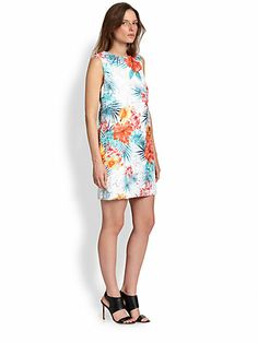 Flowers for spring.  Cocktail Mini Dress Polyester Shift Tropical Print Bateau Neck Plunging Neck Natural Waistline Sleeveless Lace  Dress