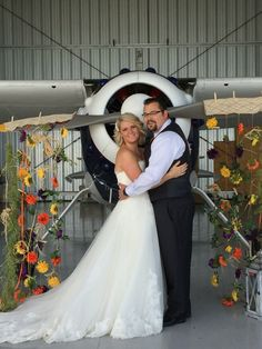 Airplane ,bride and groom.
