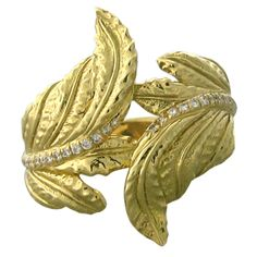 1stdibs | Verdura Gold Diamond Leaf Motif Ring