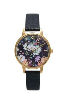 **Olivia Burton Flower Show Black and Gold Watch