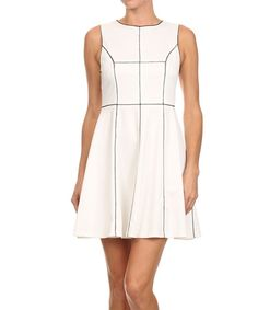 Look at this Cream & Black Windowpane Fit & Flare Dress on #zulily today!
