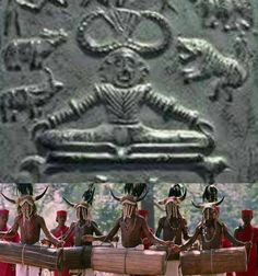 ..Same Head Dress .( SIG-MOHOR ) .belong to #GOND Community ... ..1) HARAPPAN Seal ........2) GONDI Matel Art ..... ...3) GOND Community Boy ...4) GONDI Wooden Art