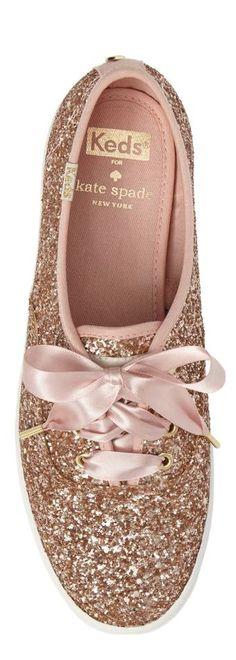 glitter sneaker KEDS® FOR KATE SPADE NEW YORK #glitter #katespade #rosegold #keds
