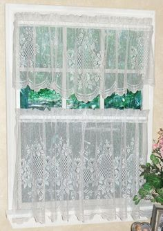 """Cameo Rose Lace Kitchen Curtain - 24"""" tier (pr) - COLOR : WHITE by CURTAIN CHIC. $9.95. THESE ARE THE TIER BOTTOMS ONLY - TOP PART IS SOLD SEPARATELY. Machine washable. pair (2 panels are included) is 56'' wide x 24'' long. Cameo Rose Lace Kitchen Curtain - 24"""" tier (pr) COLOR : WHITE. 100% polyester. THESE ARE THE TIER BOTTOMS ONLY - TOP PART IS SOLD SEPARATELY. Save 38% Off!"""