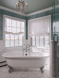 Amazing bathroom redo Love the curtains colors chandelier and