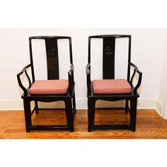 Image of Black Lacquer Chinese Arm Chairs - Pair