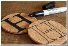 Handmade-Gift-Ideas-Initial Coasters