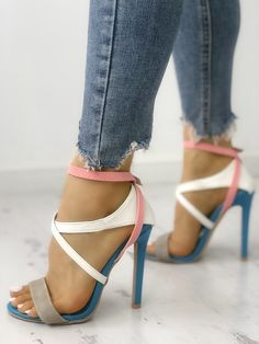Multicolor Strappy Cut Out High-heel Sandals