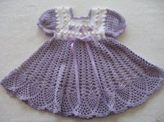 lavender colored crochet baby dress for special occasions