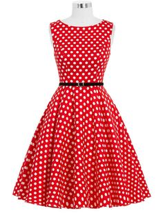 50s Retro Style Red and White Polka Dot Vintage Inspired Dress