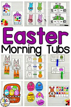 "Are you looking for a new morning routine? These Easter Morning Tubs are an""egg-cellent"" way to start the day. Your preschoolers, kindergartners, or first graders will use these April Morning Tubs to learn and review literacy and math concepts. This set of fun, hands-on Easter activities include 5 literacy and 5 math morning tubs that are perfect for children around the ages of 4-6. Click on the picture to learn more about these morning work activities! #morningtubs #morningbins #morningwork"