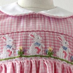 Hand-smocked whimsical pink and white check Easter Bunny dress by Anavini.  http://www.adrianeast.com/AE/product/pink-gingham-easter-bunny-dress/