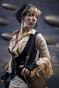 Steampunk sky pirate girl