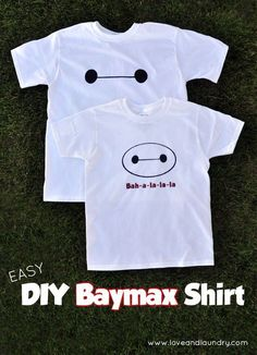 Our boys love Big Hero 6 and this easy DIY Baymax t-shirt tutorial is a project that takes less than 10 minutes to make! It's makes a great boy craft, costume or a gift!