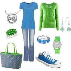 Jeans, t-shirts, a little bling, and all in blue and green.  That's me. Maybe not the shoes