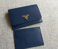 S/S 2016 Prada Wallet Cheap Sale Online-Prada Blue Saffiano Leather Credit Card Holder