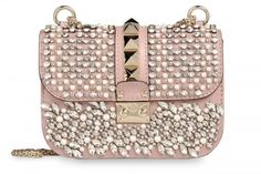 Valentino rose colored Garavani chain shoulder bag with embroidered napa leather