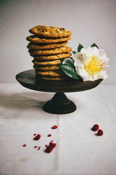White Chocolate, Raspberry, and Pistachio Cookies