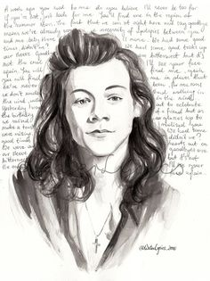 """Harry Styles Watercolour Portrait with """"Walking in the Wind"""" Lyrics One Direction"""