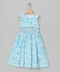 Turquoise Floral Ruffle Smocked Dress - Toddler