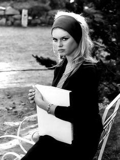 Brigitte Bardot on the set of Jean-Luc Godard's Le Mépris (1963).