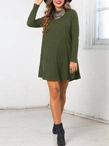 Navy Green Casual Shift Dress. Summer casual dresses and beach dresses! Fabric :Fabric is very stretchy Season :Fall Pattern Type :Plain Sleeve Length :Long Sle