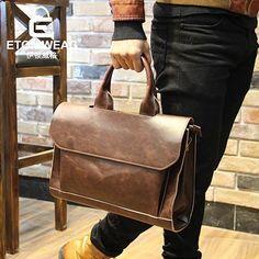 Famous Brands Vintage Leather Briefcases Men Messenger Bags Brown Luxury Business Briefcase Document Lawyer Laptop Bag