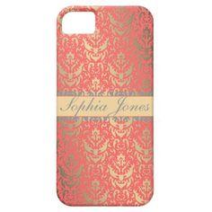 Gilded+Peach+Elegant+Faux+Shimmer+Damask+iPhone+5+Cases