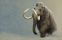 Woolly Mammoth in a snowstorm by paleoartist Carl Buell