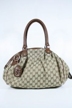 Gucci Handbags Beige Fabric and Brown Leather
