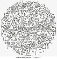 Find Pattern Coloring Book Artistically Houses Street stock images in HD and millions of other royalty-free stock photos, illustrations and vectors in the Shutterstock collection. Colouring Pages, Coloring Books, Embroidery Patterns, Hand Embroidery, Diy Christmas Village, Art Impressions, Zen Art, Line Drawing, Doodle Art