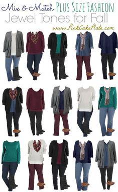 Mix & Match Plus Size - Jewel Tones Kohl's (Mix Colors Capsule Wardrobe) Plus Size Fashion For Women, Plus Size Womens Clothing, Plus Size Outfits, Size Clothing, Woman Clothing, Plus Size Winter Outfits, Flax Clothing, Gothic Clothing, Trendy Clothing
