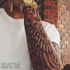Black and Grey Wing Sleeve by Christopher Noogin | Seattle Ink & Oil