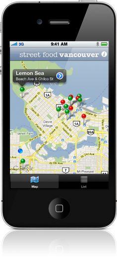 Food Truck App - www.streetfoodapp.com Food Truck App, Street Food, Vancouver, Map, Location Map, Peta, Maps