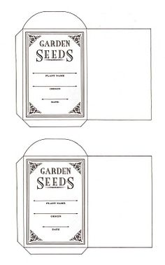 printable seed packets.  Great for saving your own seeds!  You could add a photo of the plant too!