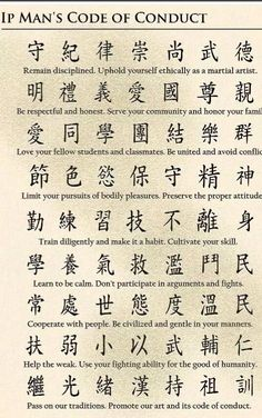 Ip Man´s code of conduct