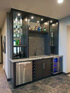 Wet Bar Basement, Basement Bar Designs, Modern Basement, Basement Kitchen, Basement Ideas, Basement Finishing, Rustic Basement, Basement Makeover, Basement Apartment
