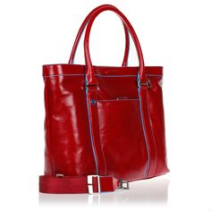Women's PC Shopping Shoulder Bag Piquadro Blue Square BD3145B2/R Red Leather - PIQUADRO OUTLET - Bags and Briefcase