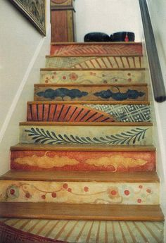 Imari Stairs: Handpainted acrylic on wood stair risers. Non-repeating, antiqued patterns adapted from Imari china. Muralist: Laurel Sternberg / International Mural Showcase