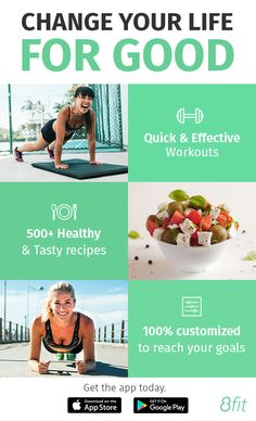 Get the app today & change your life for good. 8fit - Fitness, Nutrition & Personal Trainer for Android & iPhone