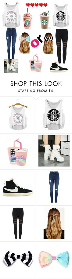 """""""i  rly want starbucks rn"""" by blahblah-lv ❤ liked on Polyvore featuring Skinnydip, Shoes Galore, NIKE and Natasha Accessories"""