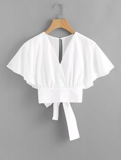 Shop Deep V-cut Split Back Bow Tie Blouse online. ROMWE offers Deep V-cut Split Back Bow Tie Blouse & more to fit your fashionable needs. Fashion Clothes, Girl Fashion, Fashion Dresses, Party Fashion, Fashion Styles, Style Fashion, Fashion Tips, Bow Tie Blouse, White Blouse Outfit