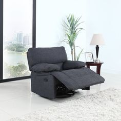 Classic style oversize and overstuffed reclining seat featuring soft linen fabric upholstery with overstuffed back rest and arm rests for extra comfort. Extra wide to add comfortability with full reclining features. This recliner also features a 360 degree swivel base with ability to use as a rocker as well. All hardware and instructions included.