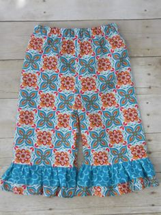 Ruffles Galore Boutique Girls Pants--Teal Orange Red Flowers--Sizes 3 months-10 years