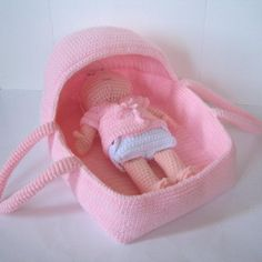 (4) Name: 'Crocheting : Baby Doll Carrier and Bassinet