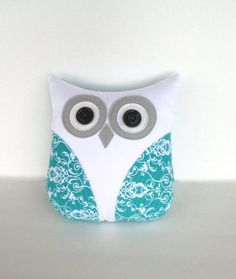 decorative pillow, owl pillow, teal, turquoise blue and white nursery decor by whimsysweetwhimsy